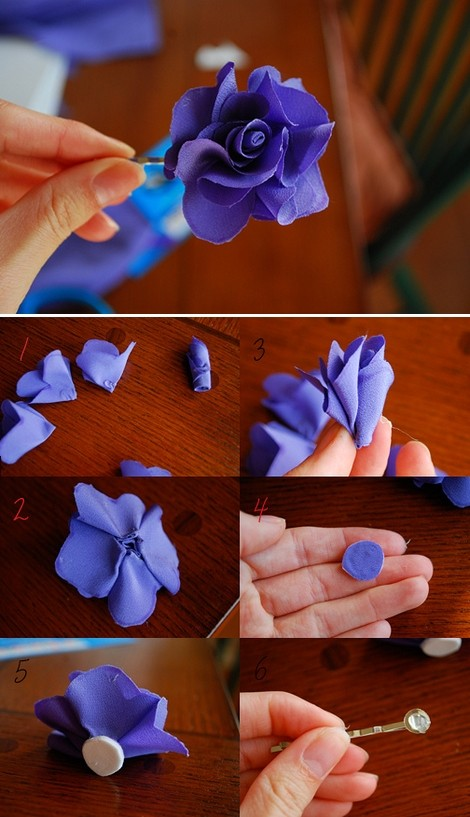 FabricLovers Blog: Almost No-Sew Fabric Flowers Tutorials   Fabric Hair Flowers Tutorial