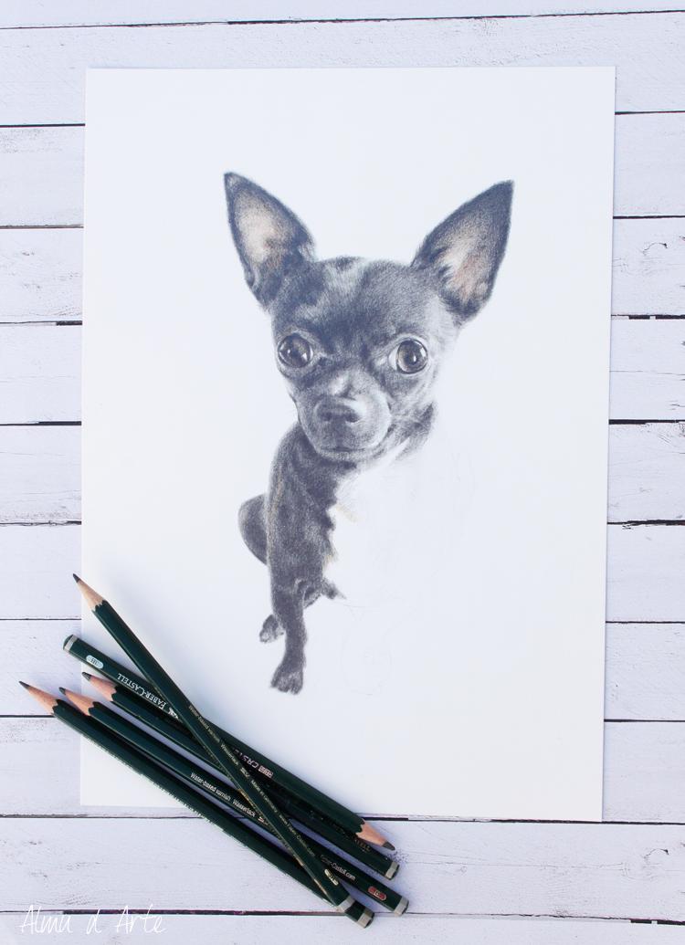 Dibujo de una mascota a lápiz de grafito