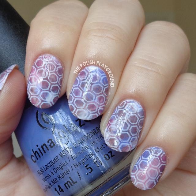 Watercolor Hexagon Pattern Art Print Inspired Nail Art