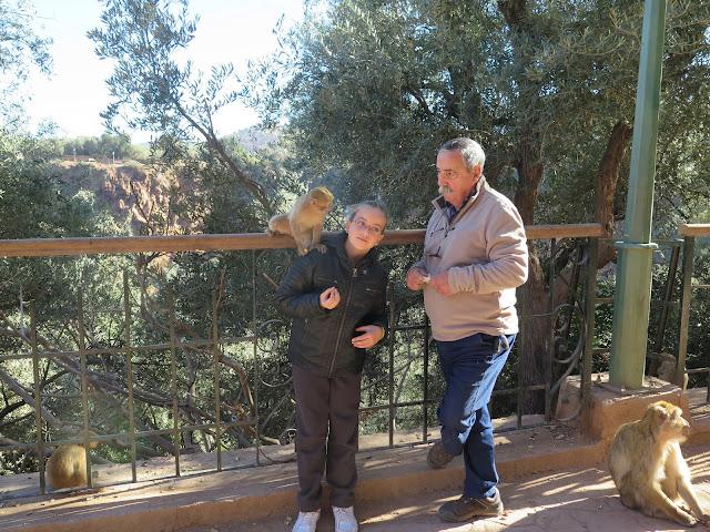 Macarena y su abuelo dando de comer a los monos en las Cascadas de Ouzoud