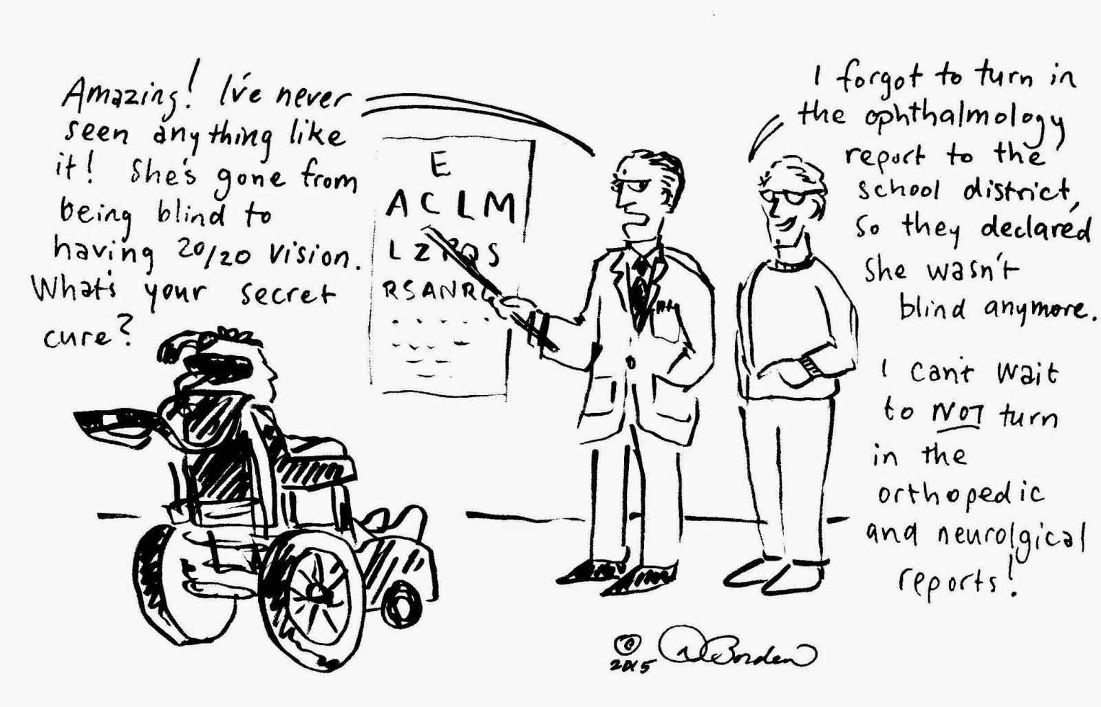 cartoon of a visit to the ophthalmologist, (c) 2015 by David Borden