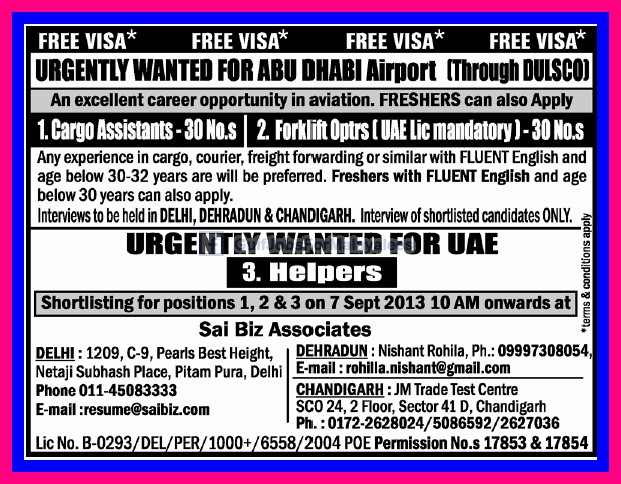 Free Visa For Abudhabi Airport Jobs Urgent Vacancies
