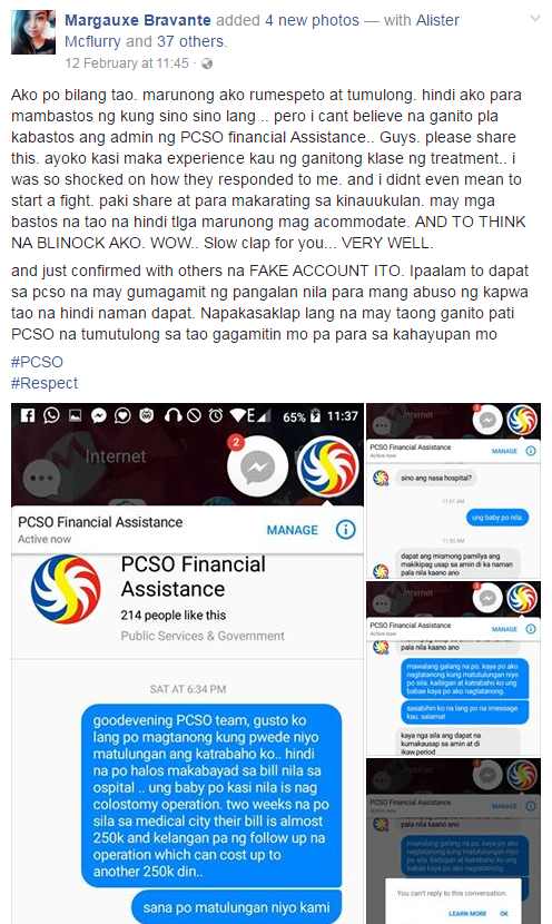 Whoa! Netizen Seeking Help for Co-Worker's Sick Baby Allegedly Gets Insulted by PCSO Employee on Facebook! Must Read!