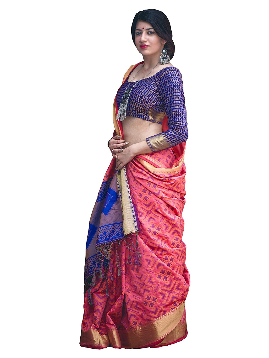 Applecreation Women'S Patola Silk Saree With Blouse Piece (12)