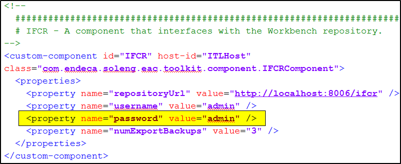 Workbench XML IFCR password change