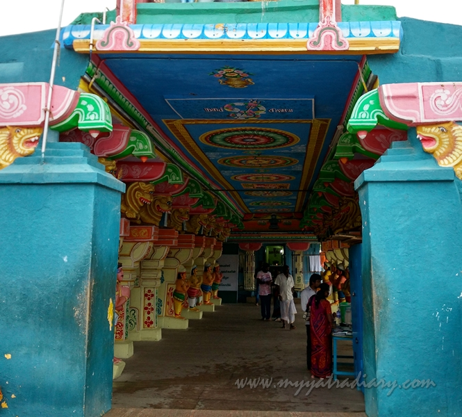 View of the insides of the Lakhsmana Temple, Rameshwaram.