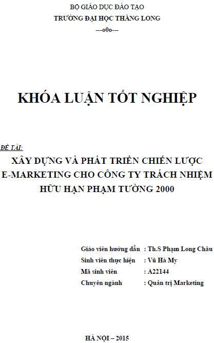 Xây dựng và phát triển chiến lược E-Marketing cho Công ty TNHH Phạm Tường 2000