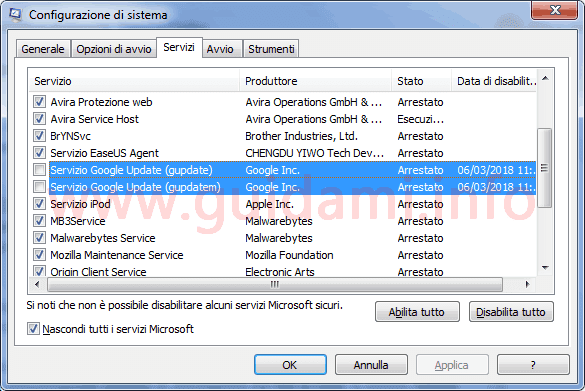 Finestra Configurazione di sistema Windows servizi Google Update
