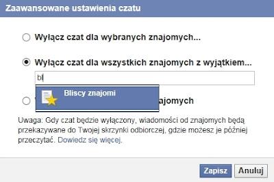 Wyłączenie chatu na Facebooku dla wybranych osób