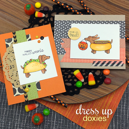 Halloween dachshund cards by Jennifer Jackson | Dress Up Doxies stamp set by Newton's Nook Designs #newtonsnook