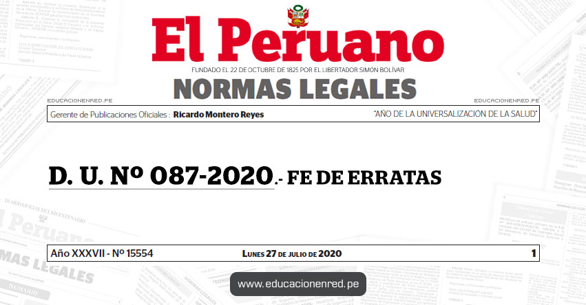 D. U. Nº 087-2020.- FE DE ERRATAS