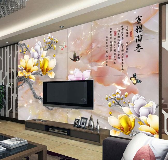 Tranh dán tường 3d hoa mẫu đơn