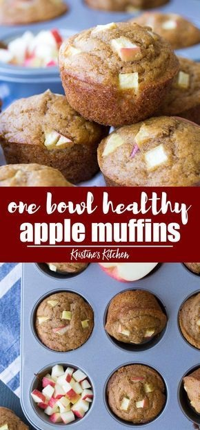 Healthy Apple Muffins (One Bowl Recipe)