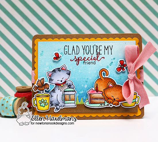 Glad You're My Special Friend Card by Ellen Haxelmans | Cat Stamp sets by Newton's Nook Designs #newtonsnook