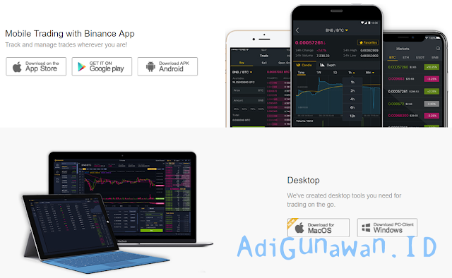 Trading Cryptocurrency dan Bitcoin di Android, iOS & PC pada Binance