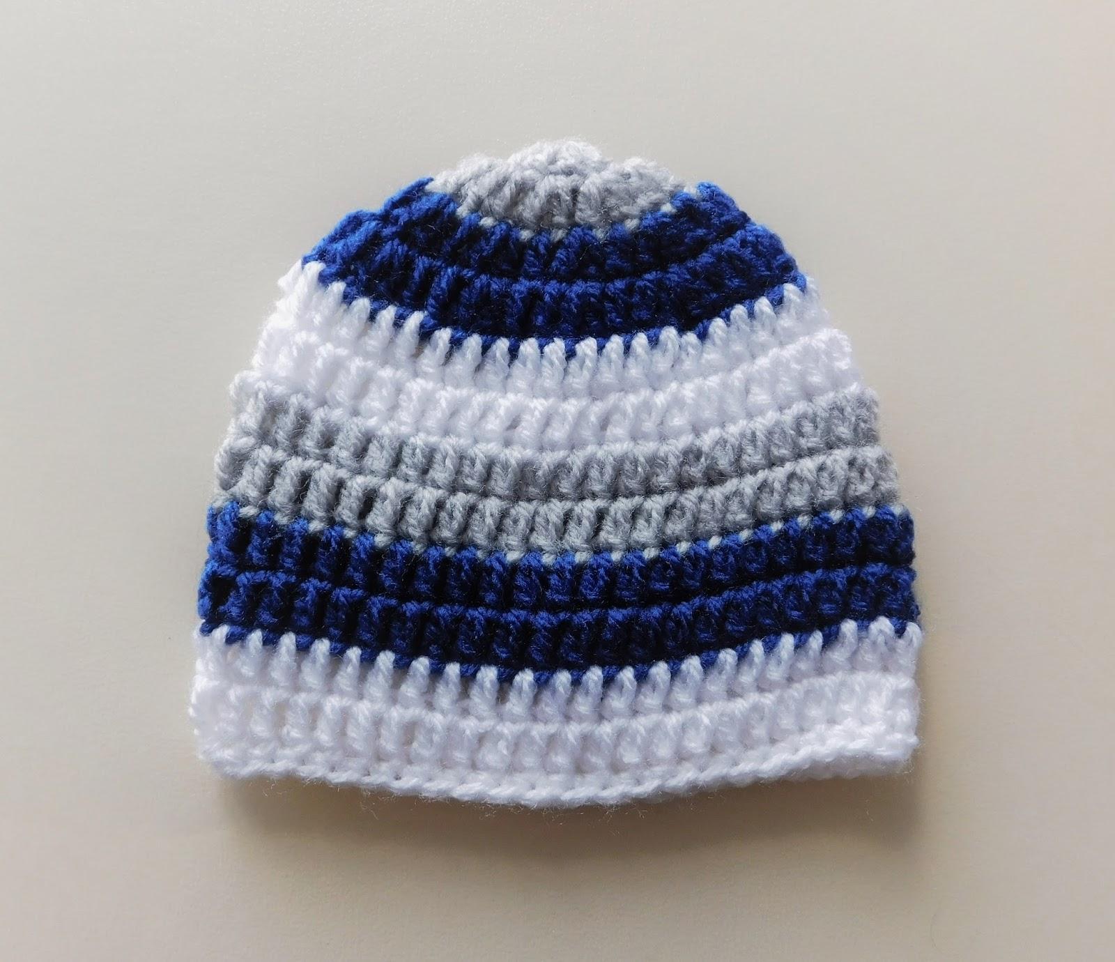 00ca177f Marianna's Lazy Daisy Days: Simple Stripes Crochet Baby Beanie Hat