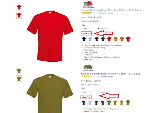 En una tienda on-line se señala el color de la prenda en esté caso red