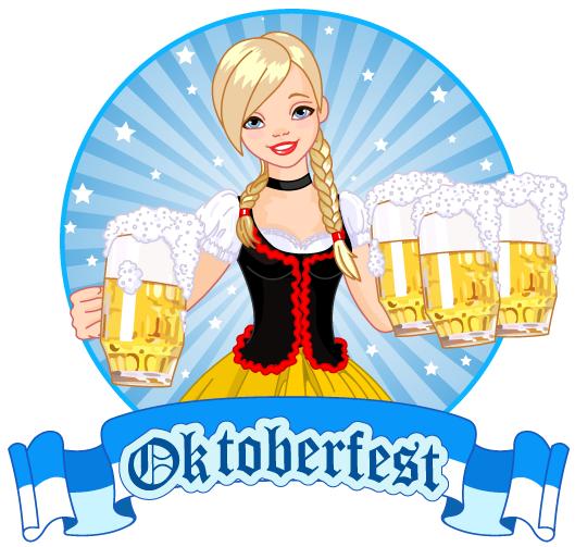 Camarera rubia del Oktoberfest celeste y dorado