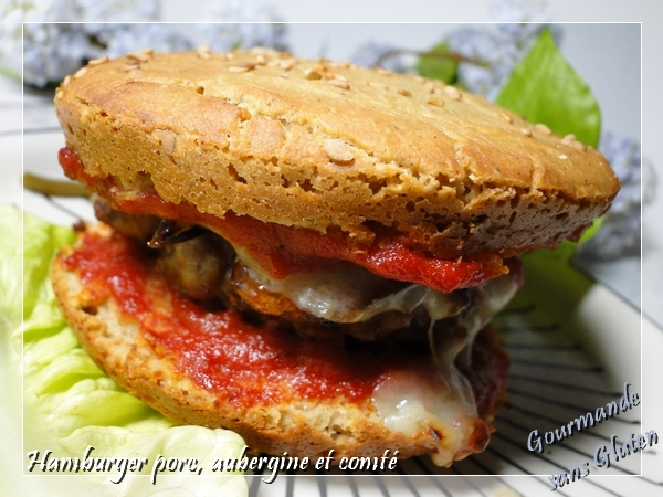 Hamburger maison, porc, aubergine et comté