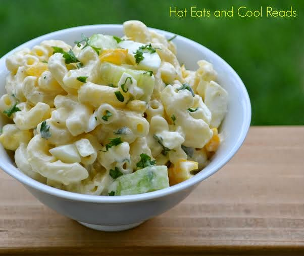 Veggie and Hard Boiled Egg Pasta Salad- Guest Post: Hot Eats and Cool Reads