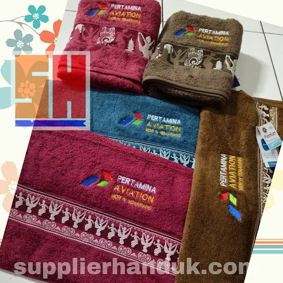 souvenir promosi handuk bordir pertamina