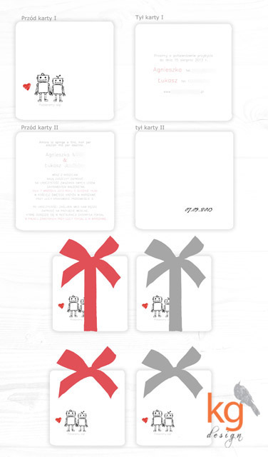 projekt indywidualny zaproszeń ślubnych, oryginalne i nietypowe zaproszenia na wesele, kolorystyka zaproszeń: biały, czarny, szary, czerwony, kwadratowe zaproszenia z zaokrąglonymi rogami, geek, geekowskie zaproszenia, zaproszenia dla informatyków, minimalistyczne, proste, kwadratowe, niekrzykliwe, akcent kolorystyczny, zaproszenie wiązane wstążką, sznurkiem lnianym kolorowym,  kolekcja zaproszeń, motyw robocików, roboty, dodatki ślubne pasujące do zaproszeń, składane winietki, plakat usadzenia gości, numery stołów na druciku (wbijane np. w jabłko), menu, oryginalne podziękowanie dla gości w formie okrągłych, metalowych przypinek o średnicy 2,5cm, numery stołów wolnostojące,