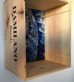 abstract spiral mosaic smalti wine box orsoni glass sun yellow blue italian italy