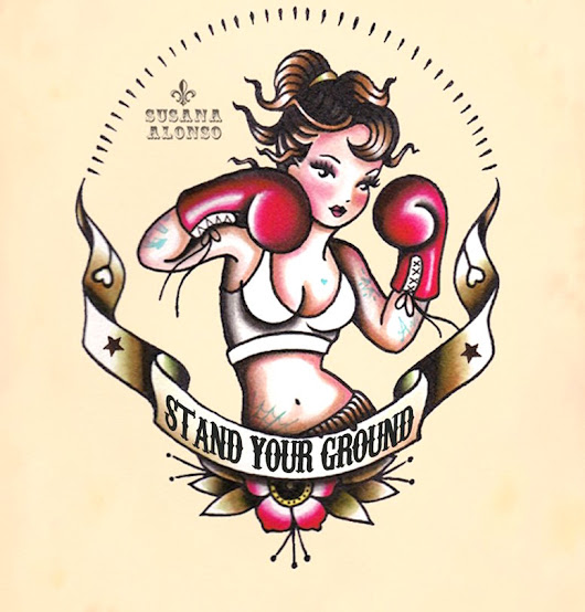 STAND YOUR GROUND -PIN UP BOXER OLD SCHOOL TATTOO FLASH