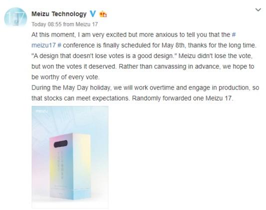 Meizu 17 serisi 8 Mayıs'ta Tanıtılacak!