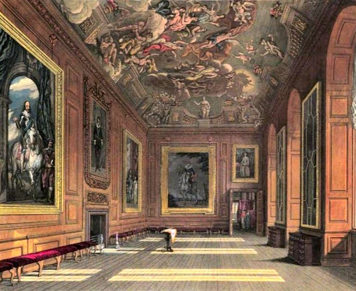 Queen's Presence Chamber, Windsor Castle  from The History of the Royal Residences by WH Pyne (1819)