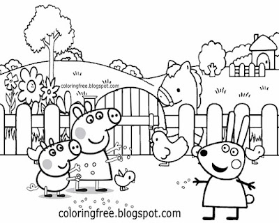 Mummy feeding cute chickens easy farm coloring pages Rebecca Rabbit Peppa Pig printables for kiddies