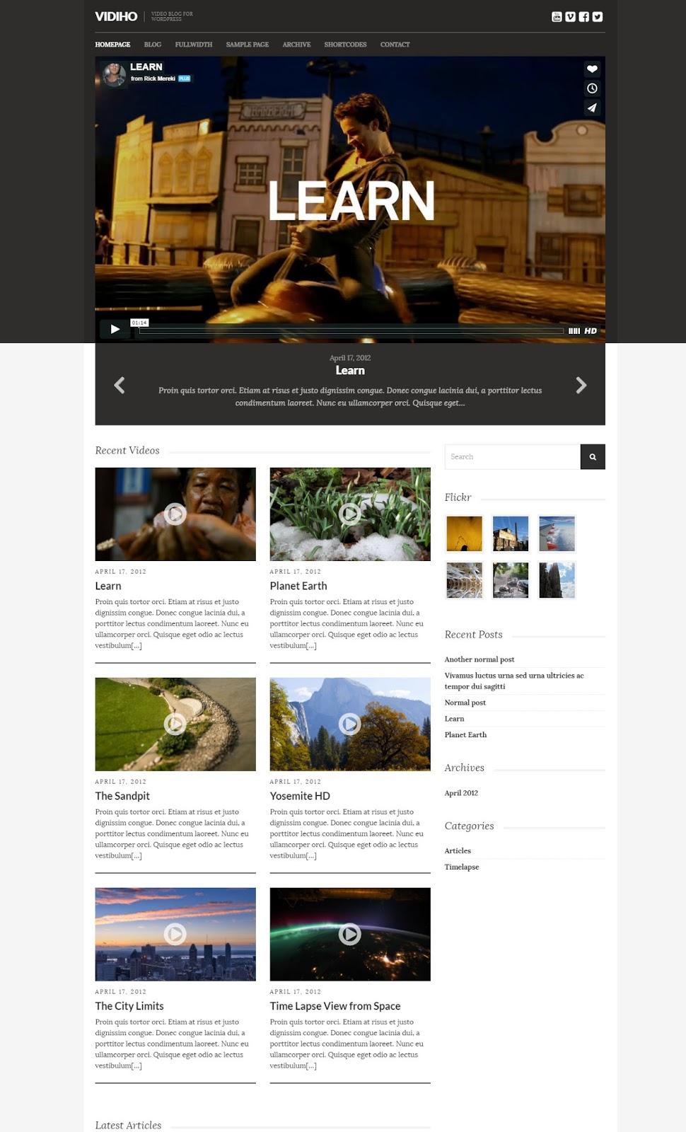 Vidiho-wordpress video Blogging Theme