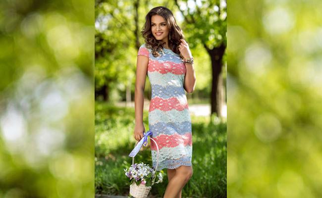 rochie de zi din dantela colorata