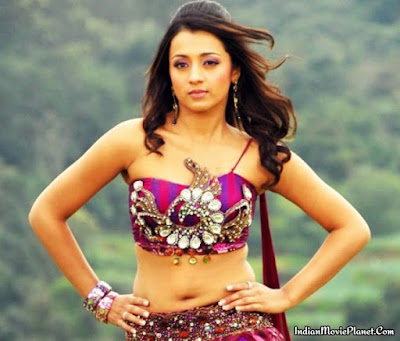 trisha hot navel showing hot  images