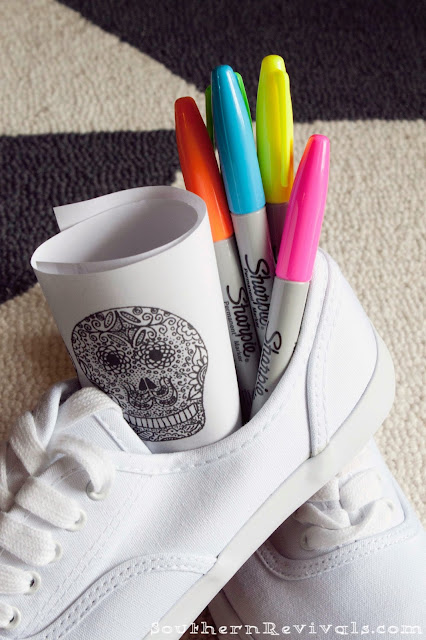 Sugar Skull Shoes with Neon Sharpies | Dia De Los Muertos Calaveras de Azucar