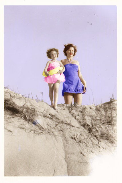 Mother, Daughter, Beach, Plum Island, Ipswich, Massachusetts, sand, sand dune, colorized photo