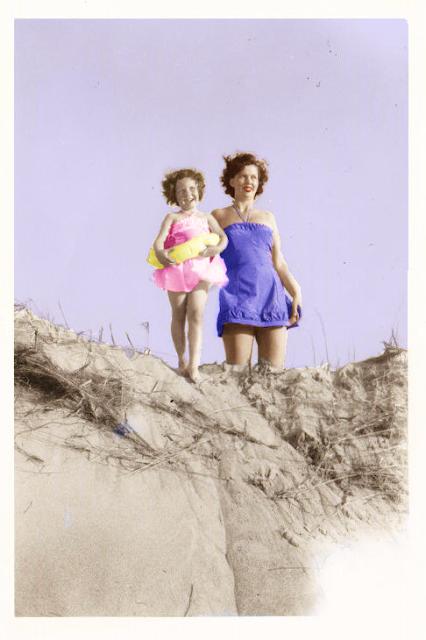 Mother, Daughter, Beach, Plum Island, Ipswich, Massachusetts, sand, sand dune, colorized photo