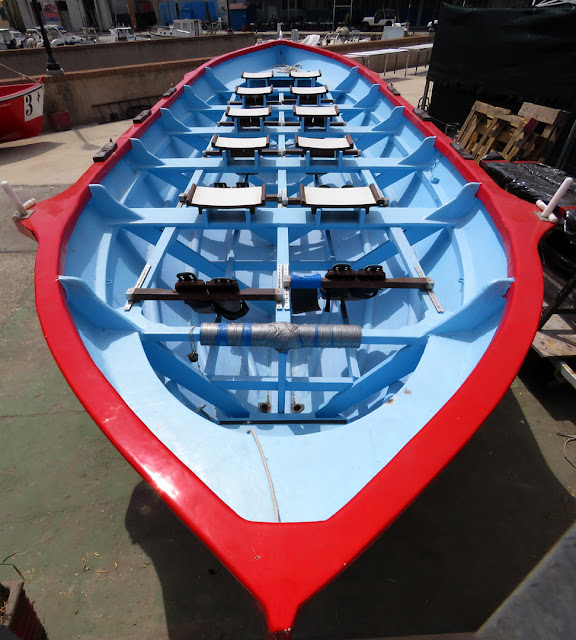 Perspective of the rowing boat of the Venezia quarter, ashore in its cantina (rowing club), Erta dei Risi'atori, Livorno