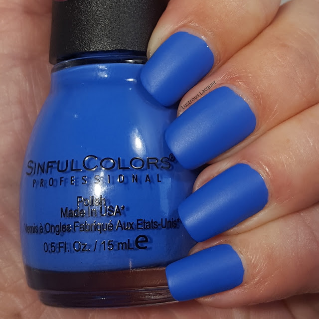 Sky blue colored nail polish with a matte finish