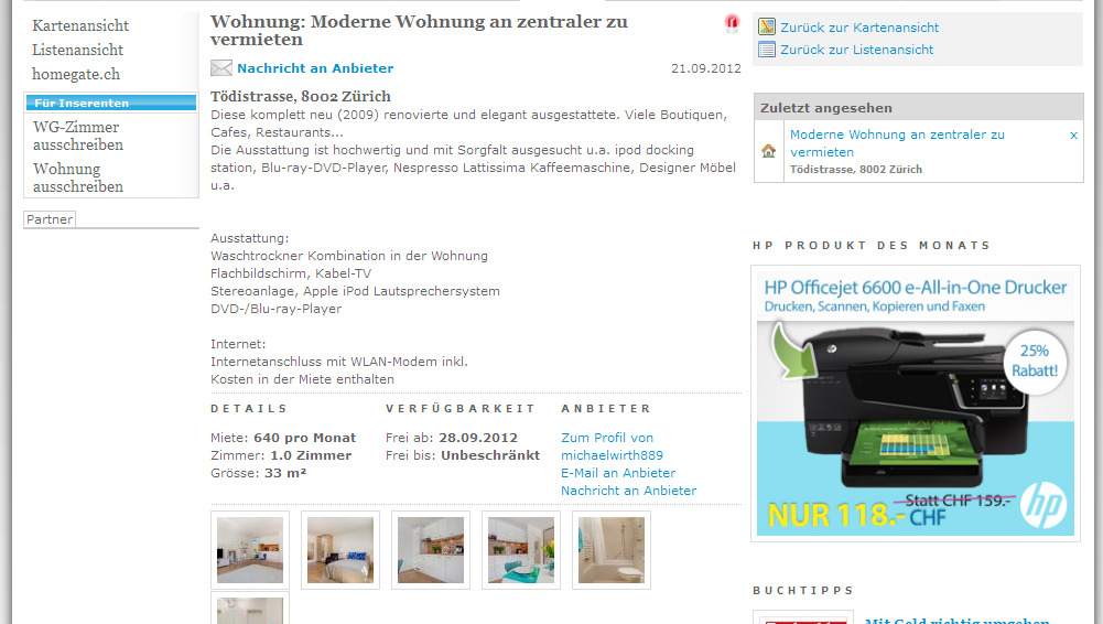 wohnung moderne wohnung an zentraler zu. Black Bedroom Furniture Sets. Home Design Ideas