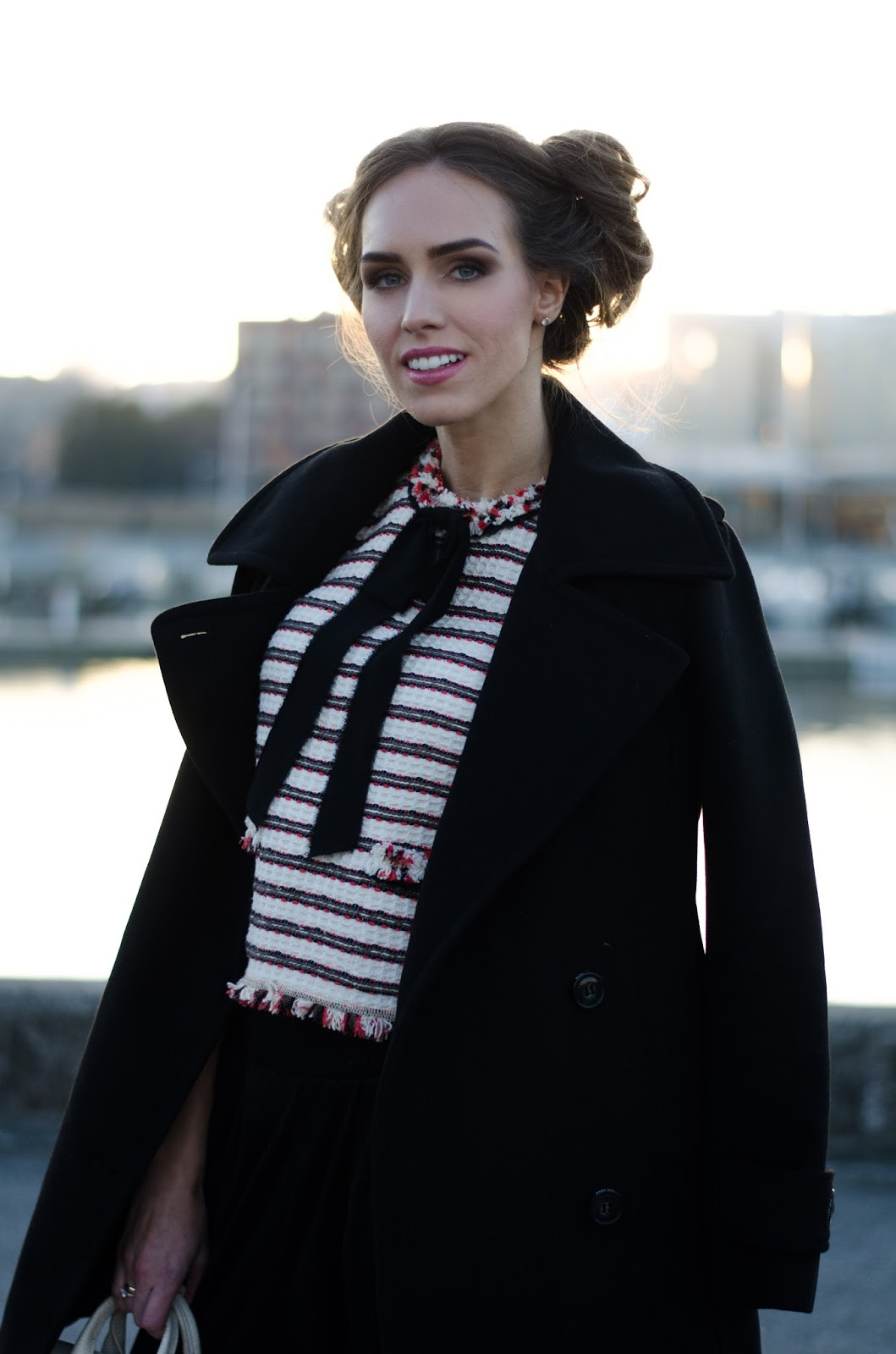 striped bow blouse peacoat outfit