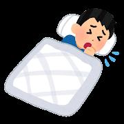 寝ながら咳をする人のイラスト(男性)