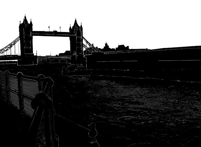 silhouette of the London Bridge