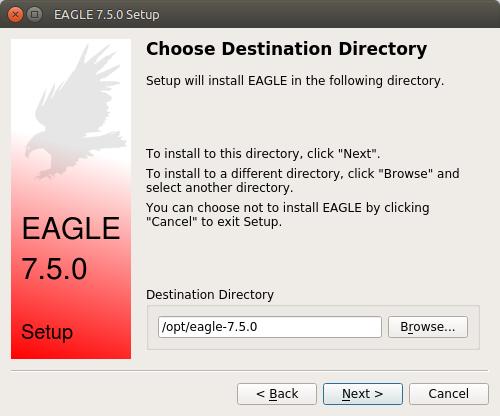 EAGLE Setup installation directory