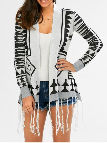 Fashionable Geometric Pattern Tassel Embellished Long Sleeve Cardigan