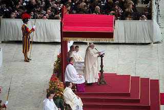 Pope Francis delivers his homily to the crowd in the square