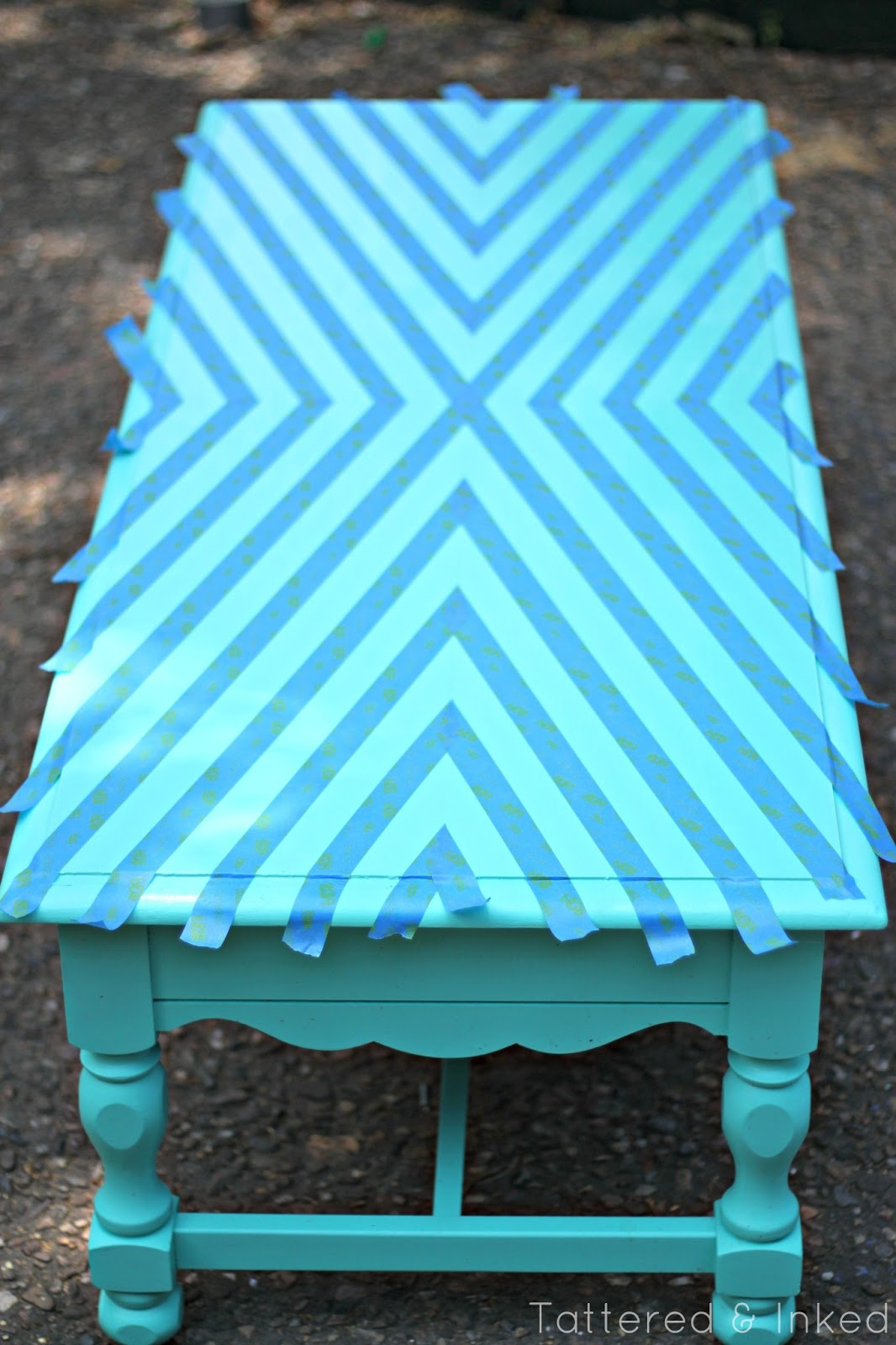 Tattered And Inked Geometric Coffee Table Makeover With 3m