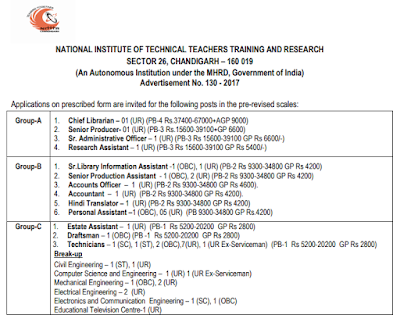 National Institute of Technical Teachers Training & Research Recruitment 2017