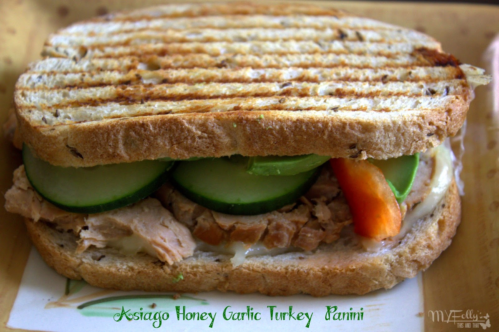 Asiago Honey Garlic Turkey Panini/ This & That #panini #slowcooker #turkey #lunch #gourmetwarehouse #honeygarlicinjectable
