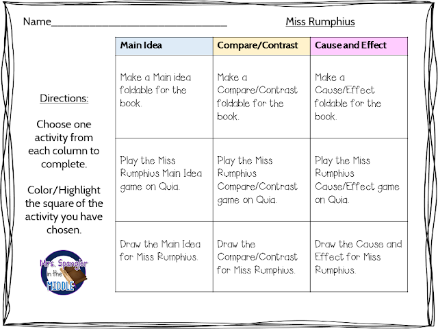 Choice boards and Menus help differentiate the instruction for struggling readers!  #teaching #middleschool #languagearts
